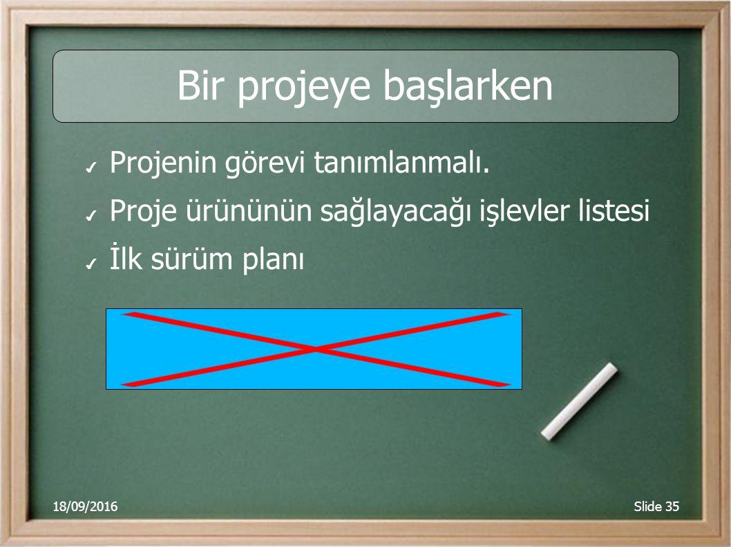 18/09/2016Slide 35 Bir projeye başlarken ✔ Projenin görevi tanımlanmalı. ✔ Proje ürününün sağlayacağı işlevler listesi ✔ İlk sürüm planı