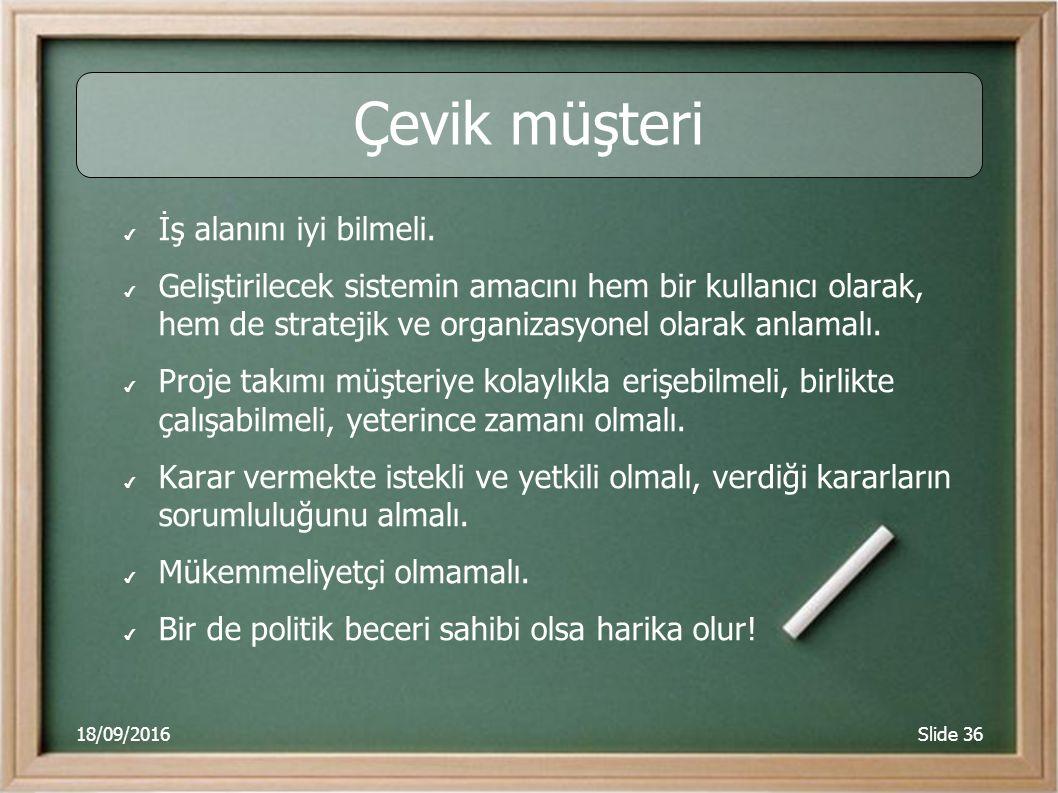 18/09/2016Slide 36 Çevik müşteri ✔ İş alanını iyi bilmeli.