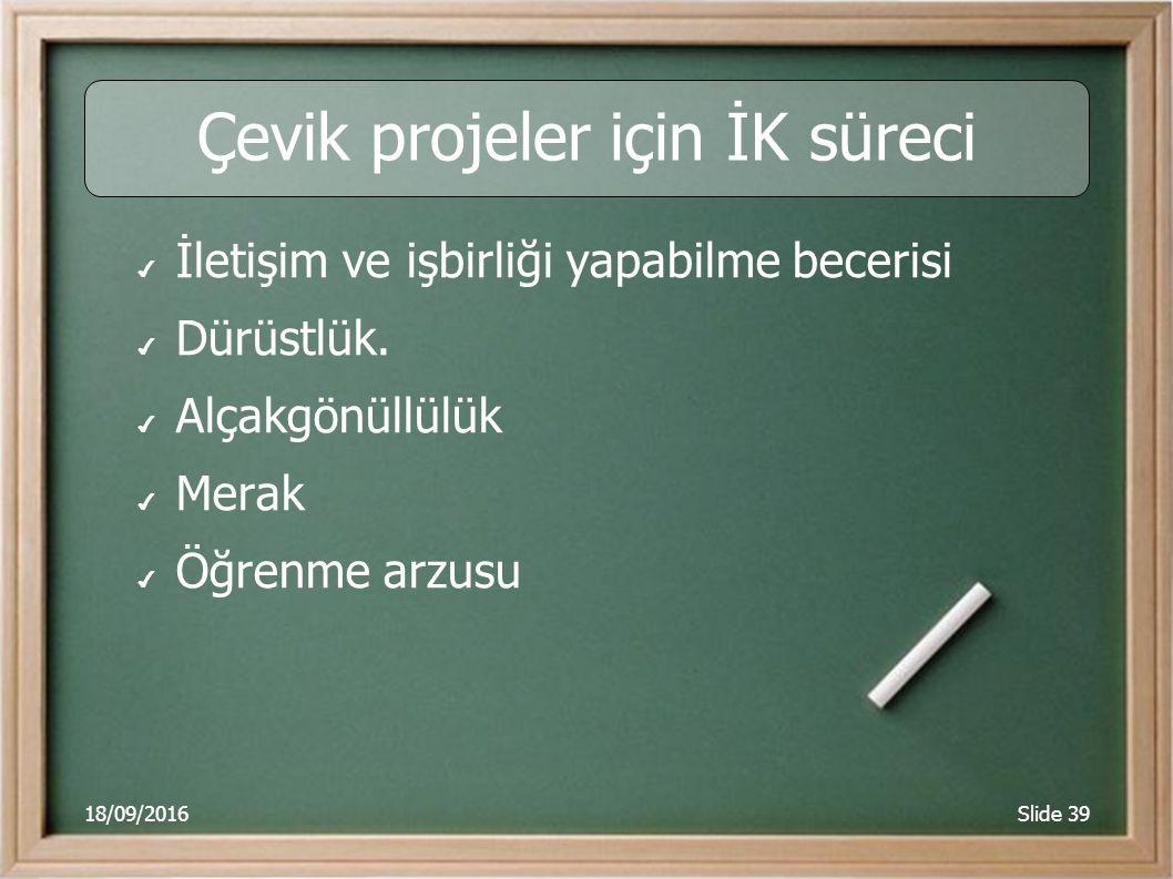 18/09/2016Slide 39 Çevik projeler için İK süreci ✔ İletişim ve işbirliği yapabilme becerisi ✔ Dürüstlük.