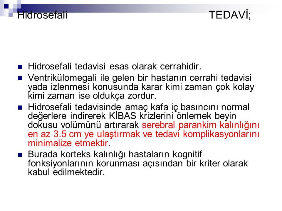 Hidrosefali TEDAVİ; Hidrosefali tedavisi esas olarak cerrahidir.