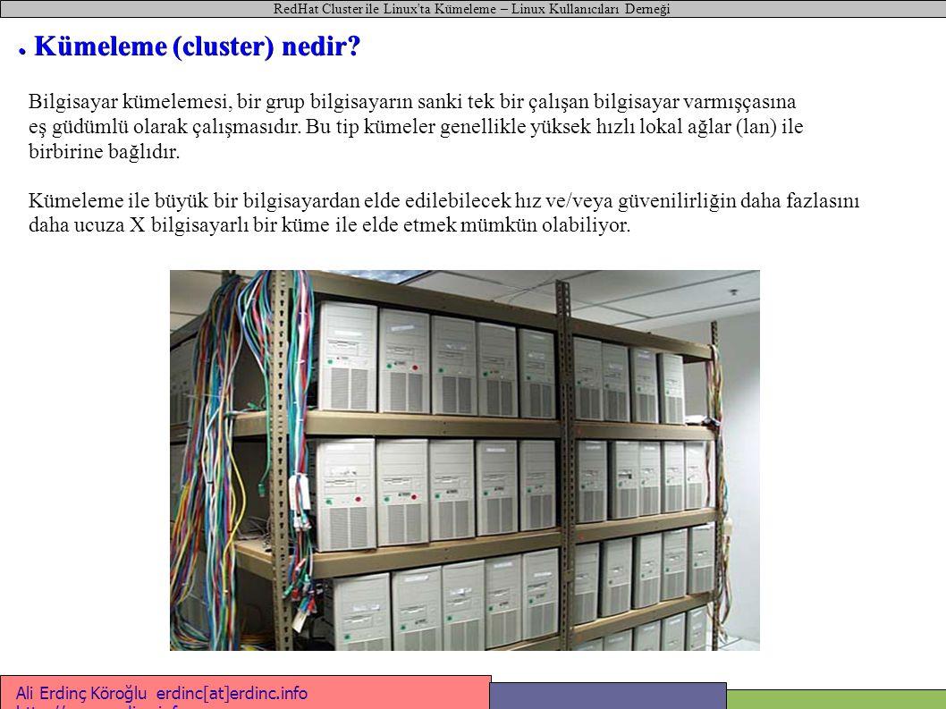RedHat Cluster ile Linux ta Kümeleme – Linux Kullanıcıları Derneği Ali Erdinç Köroğlu erdinc[at]erdinc.info http://www.erdinc.info http://www.erdinc.info ● Aktif / Aktif Kümeler Web Sunucu bond0:0 212.12.12.12 Aktif Aktif Mysql Sunucu bond0:0 212.12.12.13