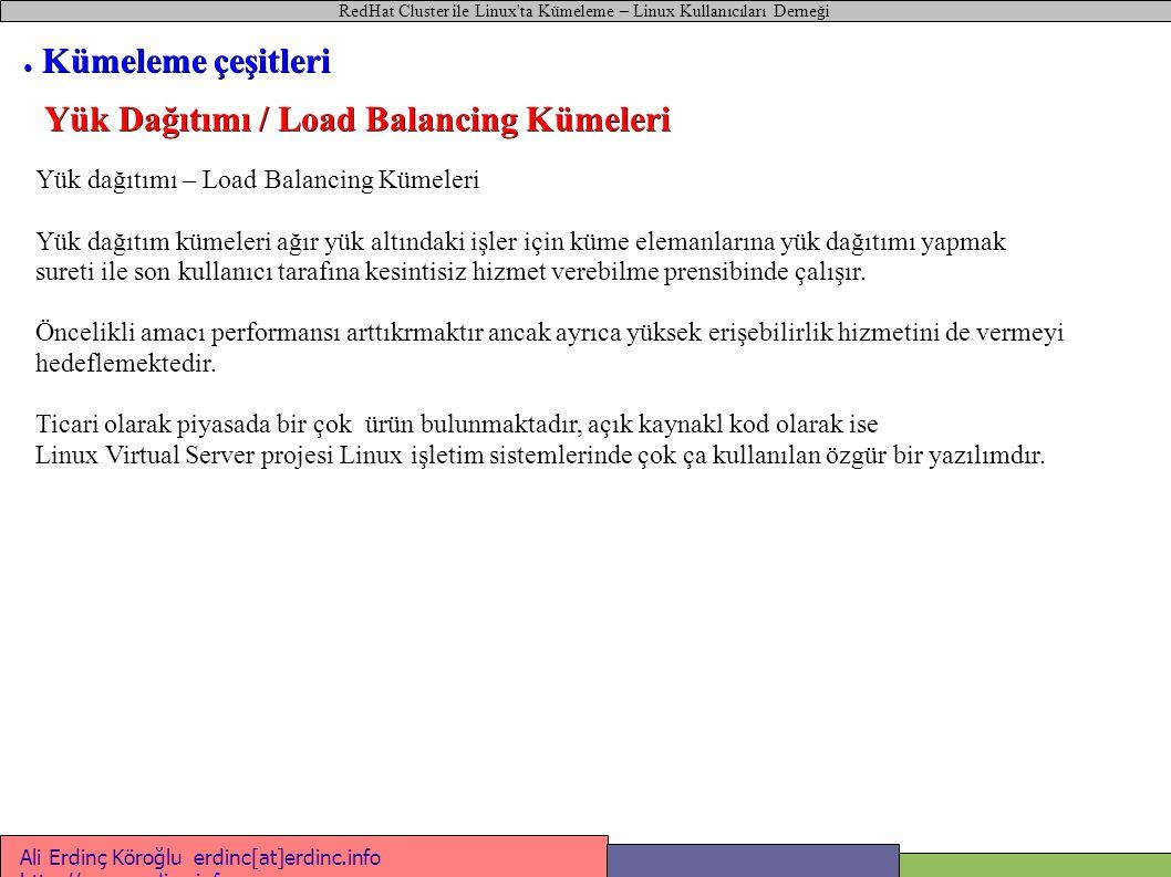 RedHat Cluster ile Linux ta Kümeleme – Linux Kullanıcıları Derneği Ali Erdinç Köroğlu erdinc[at]erdinc.info http://www.erdinc.info http://www.erdinc.info #!/bin/bash # Web sunucusu başlat-durdur betiği case $1 in start ) ifconfig bond0:0 212.12.12.12 netmask 255.255.255.0 mount /dev/sda1 /web_sayfalari /etc/init.d/httpd start ;; stop ) /etc/init.d/httpd stop umount /dev/sda1 service network restart ;; esac ● Aktif / Aktif Kümeler Sunuc u1