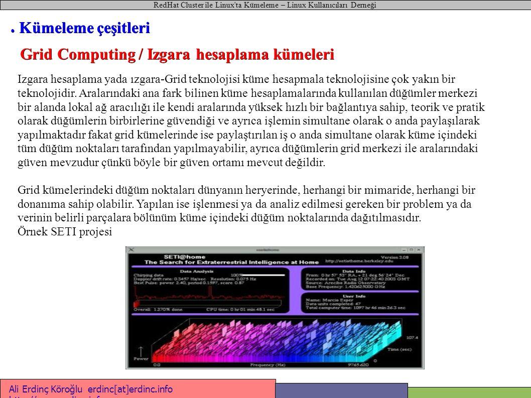 Sunuc u1 RedHat Cluster ile Linux ta Kümeleme – Linux Kullanıcıları Derneği Ali Erdinç Köroğlu erdinc[at]erdinc.info http://www.erdinc.info http://www.erdinc.info #!/bin/bash # Mysql sunucusu başlat-durdur betiği case $1 in start ) ifconfig bond0:1 212.12.12.13 netmask 255.255.255.0 mount /dev/sdb1 /db /etc/init.d/mysqld start ;; stop ) /etc/init.d/mysqld stop umount /dev/sdb1 ifconfig bond0:1 1.2.3.4 netmask 255.0.0.0 ;; esac ● Aktif / Aktif Kümeler