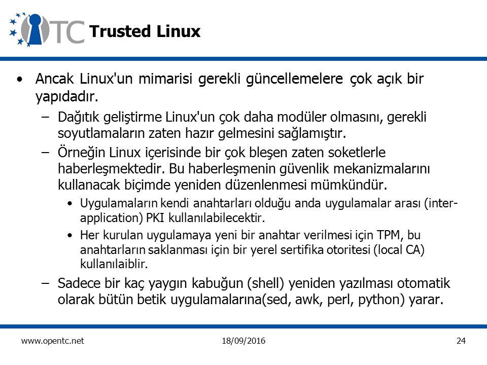 24 www.opentc.net18/09/2016 Trusted Linux Ancak Linux un mimarisi gerekli güncellemelere çok açık bir yapıdadır.
