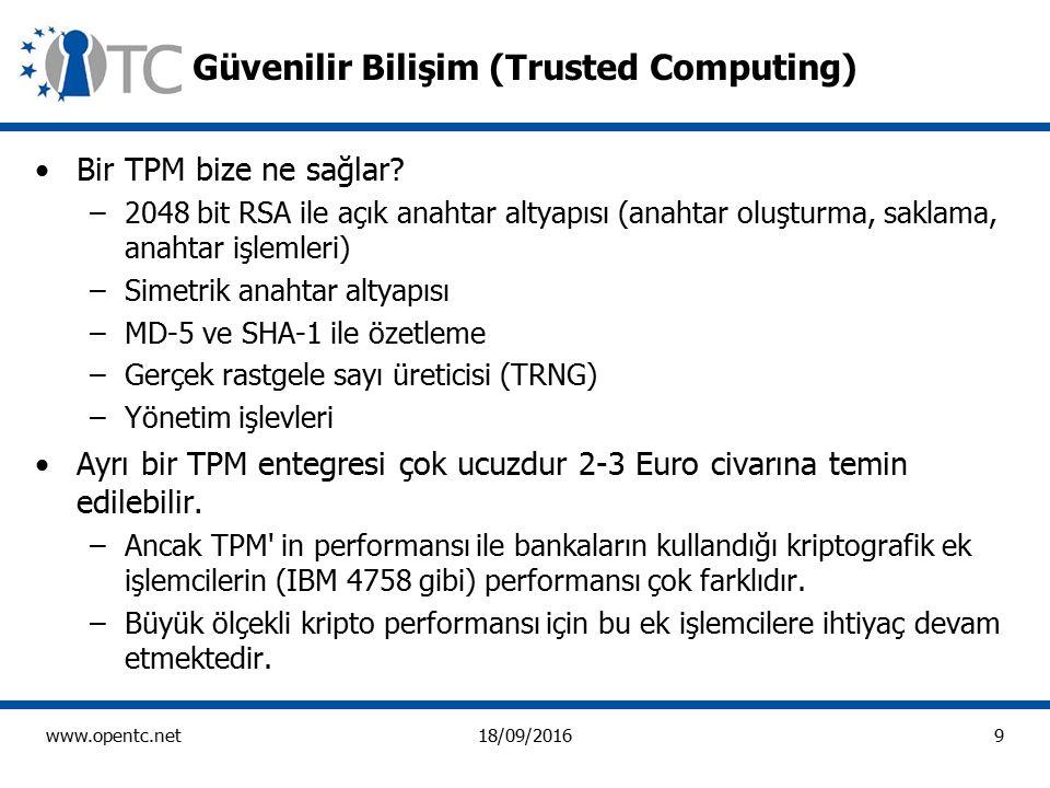 9 www.opentc.net18/09/2016 Güvenilir Bilişim (Trusted Computing) Bir TPM bize ne sağlar.