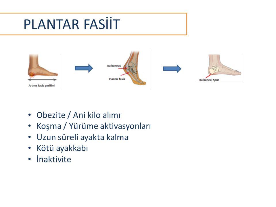 PLANTAR FASİİT Obezite / Ani kilo alımı Koşma / Yürüme aktivasyonları Uzun süreli ayakta kalma Kötü ayakkabı İnaktivite