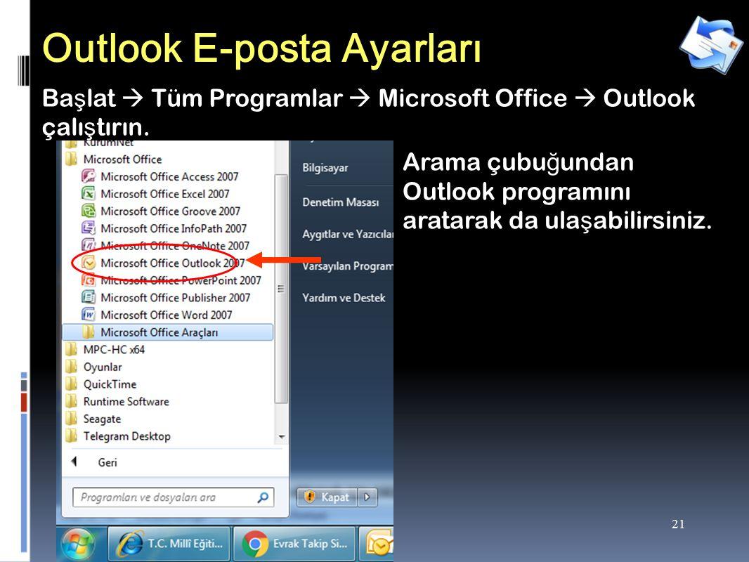 21 Outlook E-posta Ayarları Ba ş lat  Tüm Programlar  Microsoft Office  Outlook çalı ş tırın.