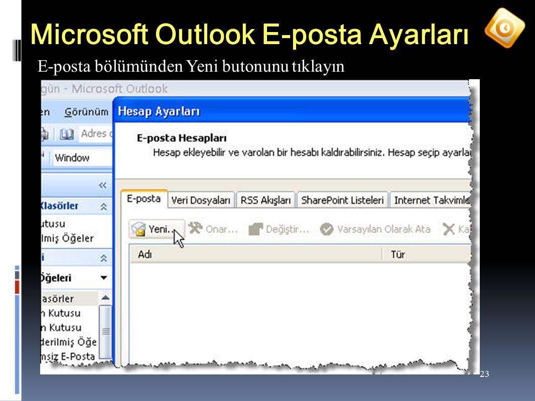 23 Microsoft Outlook E-posta Ayarları E-posta bölümünden Yeni butonunu tıklayın