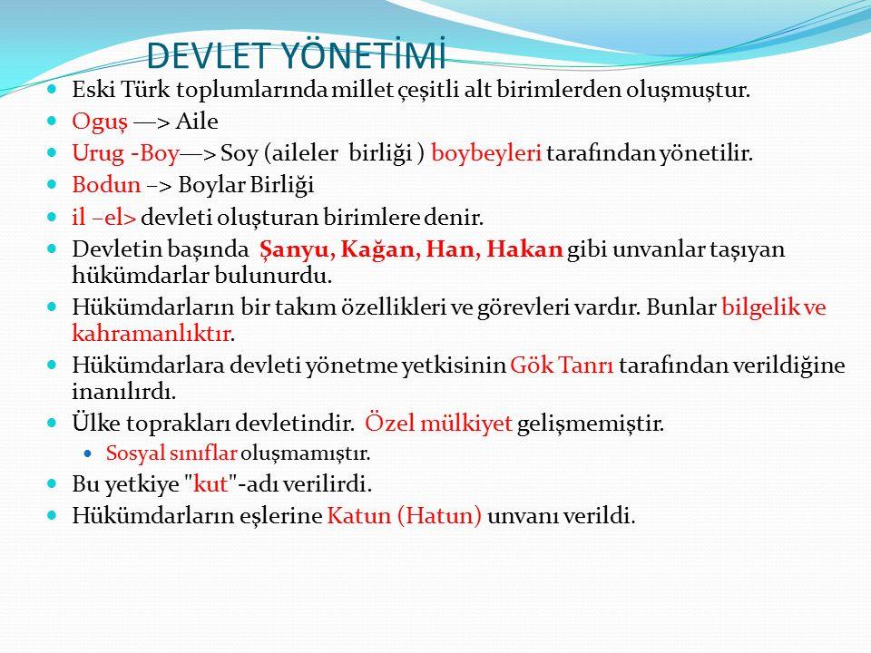 DEVLET YÖNETİMİ Eski Türk toplumlarında millet çeşitli alt birimlerden oluşmuştur.