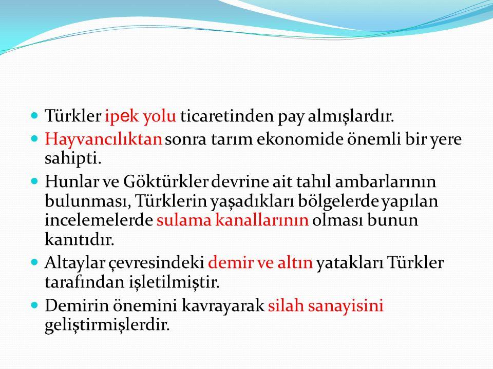Türkler ip e k yolu ticaretinden pay almışlardır.