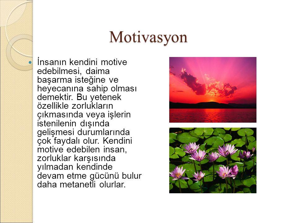 Motivasyon İnsanın kendini motive edebilmesi, daima başarma isteğine ve heyecanına sahip olması demektir.