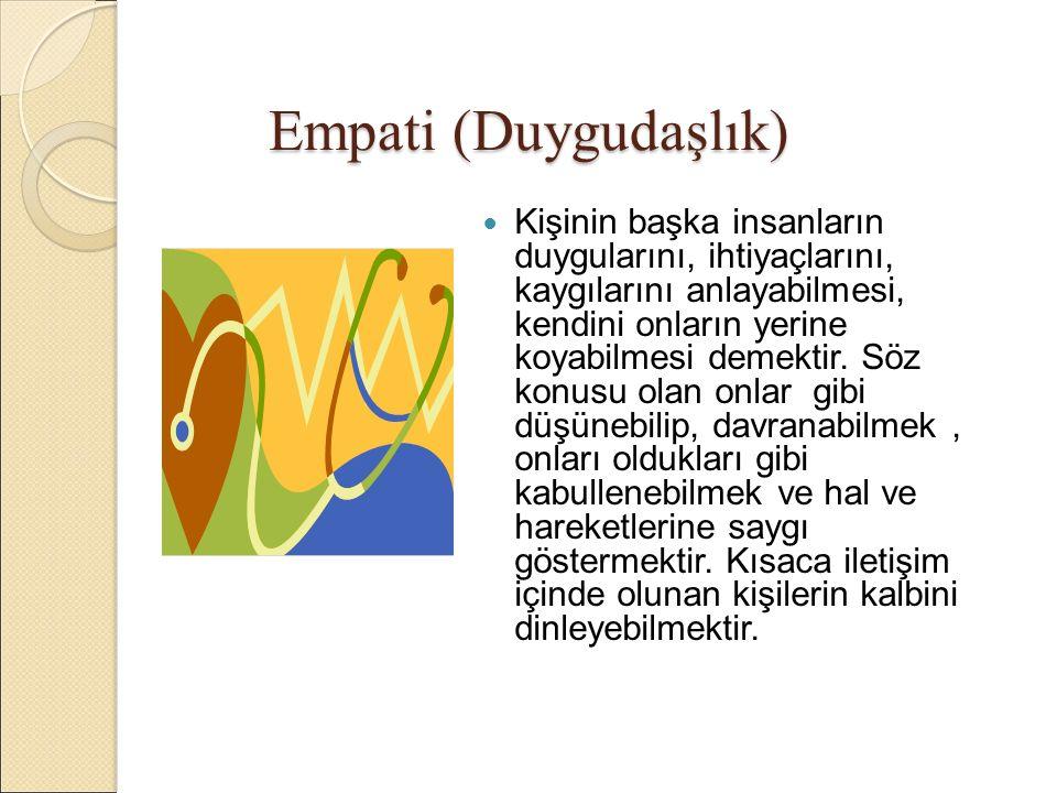 Empati (Duygudaşlık) Kişinin başka insanların duygularını, ihtiyaçlarını, kaygılarını anlayabilmesi, kendini onların yerine koyabilmesi demektir.