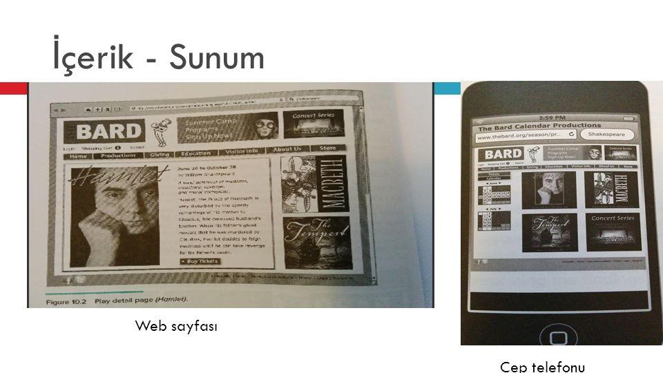 İ çerik - Sunum Web sayfası Cep telefonu