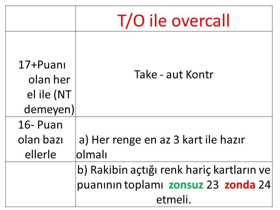 T/O ile overcall 17+Puanı olan her el ile (NT demeyen) Take - aut Kontr 16- Puan olan bazı ellerle a) Her renge en az 3 kart ile hazır olmalı b) Rakibin açtığı renk hariç kartların ve puanının toplamı zonsuz 23 zonda 24 etmeli.