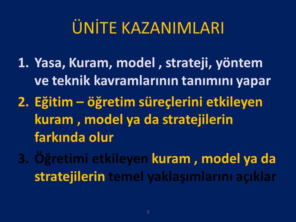 ÜNİTE KAZANIMLARI 1.Yasa, Kuram, model, strateji, yöntem ve teknik kavramlarının tanımını yapar 2.Eğitim – öğretim süreçlerini etkileyen kuram, model ya da stratejilerin farkında olur 3.Öğretimi etkileyen kuram, model ya da stratejilerin temel yaklaşımlarını açıklar 3