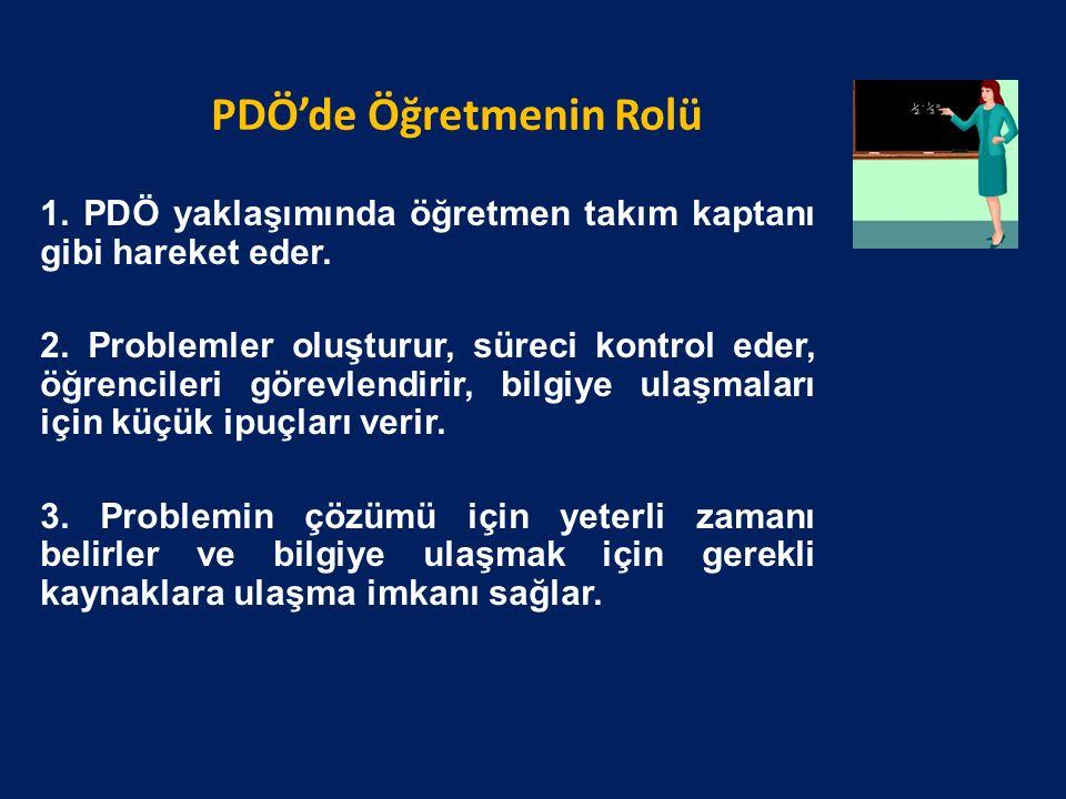 PDÖ'de Öğretmenin Rolü 1. PDÖ yaklaşımında öğretmen takım kaptanı gibi hareket eder.