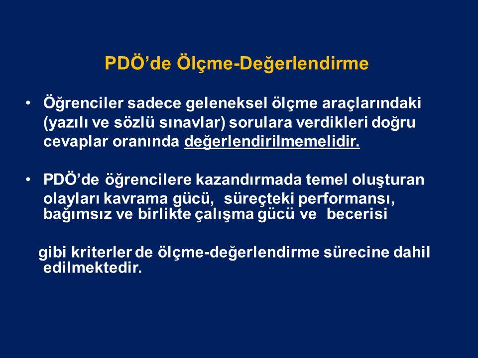 PDÖ'de Ölçme-Değerlendirme Öğrenciler sadece geleneksel ölçme araçlarındaki (yazılı ve sözlü sınavlar) sorulara verdikleri doğru cevaplar oranında değerlendirilmemelidir.