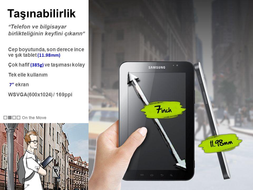 Taşınabilirlik Cep boyutunda, son derece ince ve şık tablet (11.98mm) Çok hafif (385g) ve taşıması kolay Tek elle kullanım 7 ekran WSVGA(600x1024) / 169ppi Telefon ve bilgisayar birlikteliğinin keyfini çıkarın