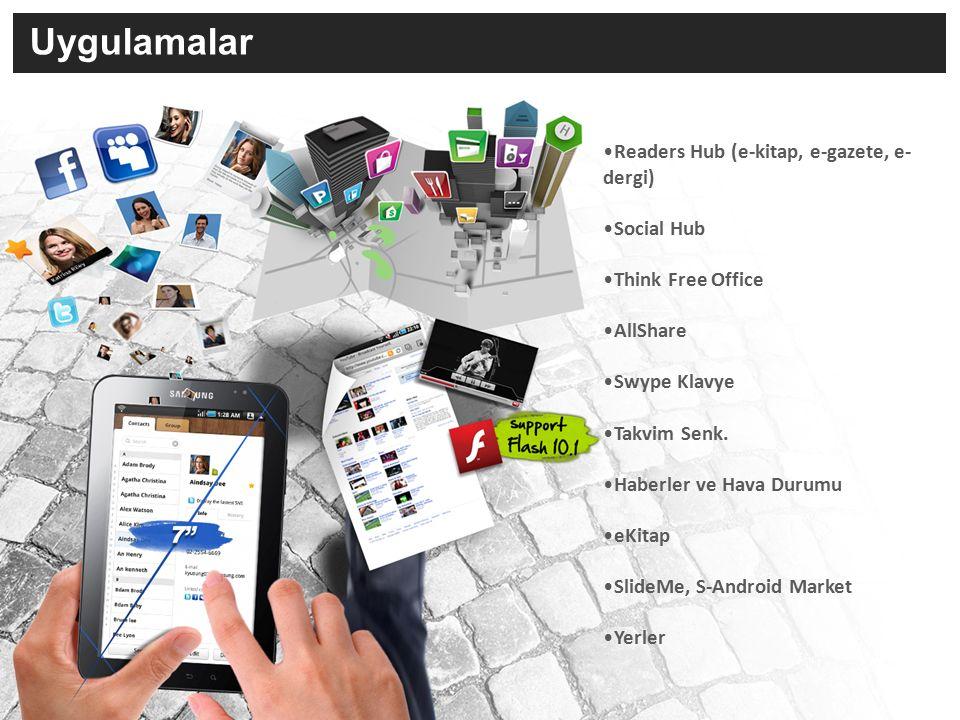Teknik Özellikler Ağ - 3G/ HSUPA 5.76Mbps/ HSDPA 7.2Mbps 900/1900/2100 - EDGE/GPRS 850/ 900/1800/1900 Ölçüler - 190.1 X 120.45 X 11.98 mm (385g) Ekran - 7.0 WSVGA (600X1024) Dokunmatik TFT Android 2.2 (Froyo) İşletim Sistemi Uygulama Mağazası - Samsung Apps / Slide Me / S-Android Social Hub - Sosyal Ağlar (Facebook, Myspace, Twitter), anlık mesajlaşma, e-posta ve takvim entegrasyonu - Entegre Takvim (Google/Outlook/Facebook ) Samsung Kullanıcı Arayüzü - Çoklu ana ekran ve menüler - Çok fonksiyonlu Widget'lar İşlemci - 1GHz CPU Hızı Kamera - 3.0 MP AF kamera + LED Flaş -1.3 MP Ön Kamera/Görüntülü Görüşme -Video - Full HD Video Oynatıcı(1080p) & Kayıt(720 x 480) @ 30fps - Çoklu Video Formatı Desteği (WMV, MPEG4, DIVX, XVID, H.263, H.264) Muzik - 3.5mm kulaklık girişi & Hoparlör - MP3, AAC, OGG, WMA, AMR-NB/WB, FLAC, WAV, AC3, MIDI, RTTTL/RTX, OTA, i-Melody, SP-MIDI Bağlantı - Wi-Fi b/g/n, Bluetooth v3.0, USB - TV out çıkışı (opsiyonel) - AllShare ™ (DLNA bağlantısı ile multimedia oynatıcısı) - Mobil AP (Wi-Fi üzerinden internet paylaşımı ) Hafıza - 16GB Dahili + MicroSD (32GB'a kadar arttırılabilir) Android Tarayıcı - Adobe Flash 10.1 desteği - RSS okuyucu Multi-touch yakınlaştırma/uzaklaştırma Sensörler - Gyro, Işık Sensörü, Dijital Pusula Dahili E-mail - Gmail - MS Exchange ActiveSync Ek Özellikler - Swype Klavye Teknolojisi - ThinkFree Ofis Uygulaması - ekitap Uygulaması - A-GPS / Google MapsTM, Latitude, Yerler Pil (Standart) Li-pol, 4000mAh Google Maps™ Navigation (Beta) is a trademark of Google Inc, TeleAtlas® Maps Date ©2009