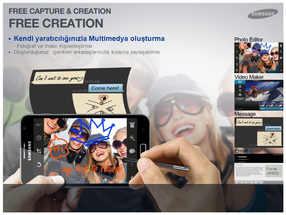  Kendi yaratıcılığınızla Multimedya oluşturma - Fotoğraf ve Video Kişiselleştirme  Oluşturduğunuz içerikleri arkadaşlarınızla kolayca paylaşabilme.