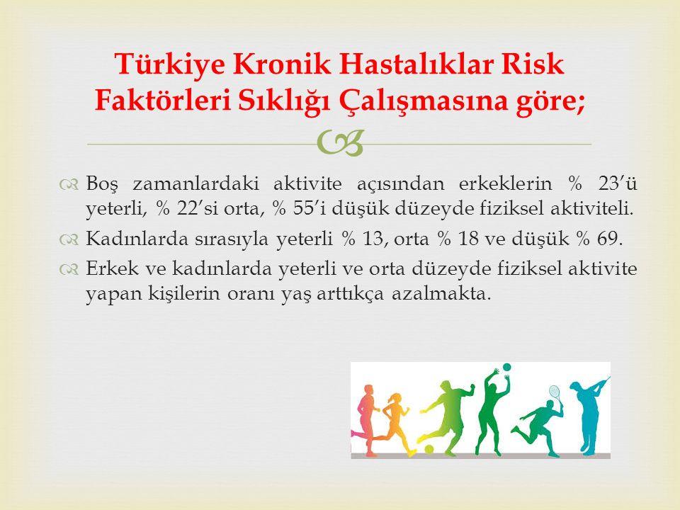  Boş zamanlardaki aktivite açısından erkeklerin % 23'ü yeterli, % 22'si orta, % 55'i düşük düzeyde fiziksel aktiviteli.