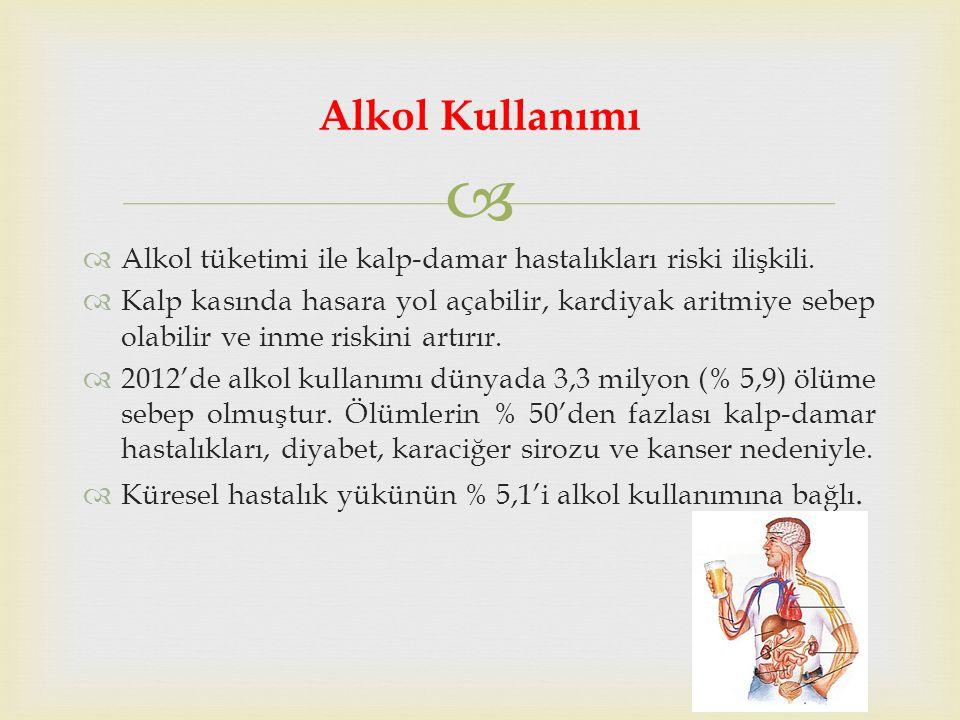   Alkol tüketimi ile kalp-damar hastalıkları riski ilişkili.
