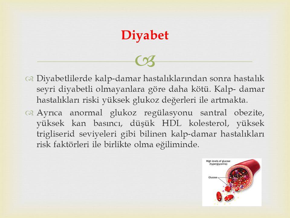   Diyabetlilerde kalp-damar hastalıklarından sonra hastalık seyri diyabetli olmayanlara göre daha kötü.