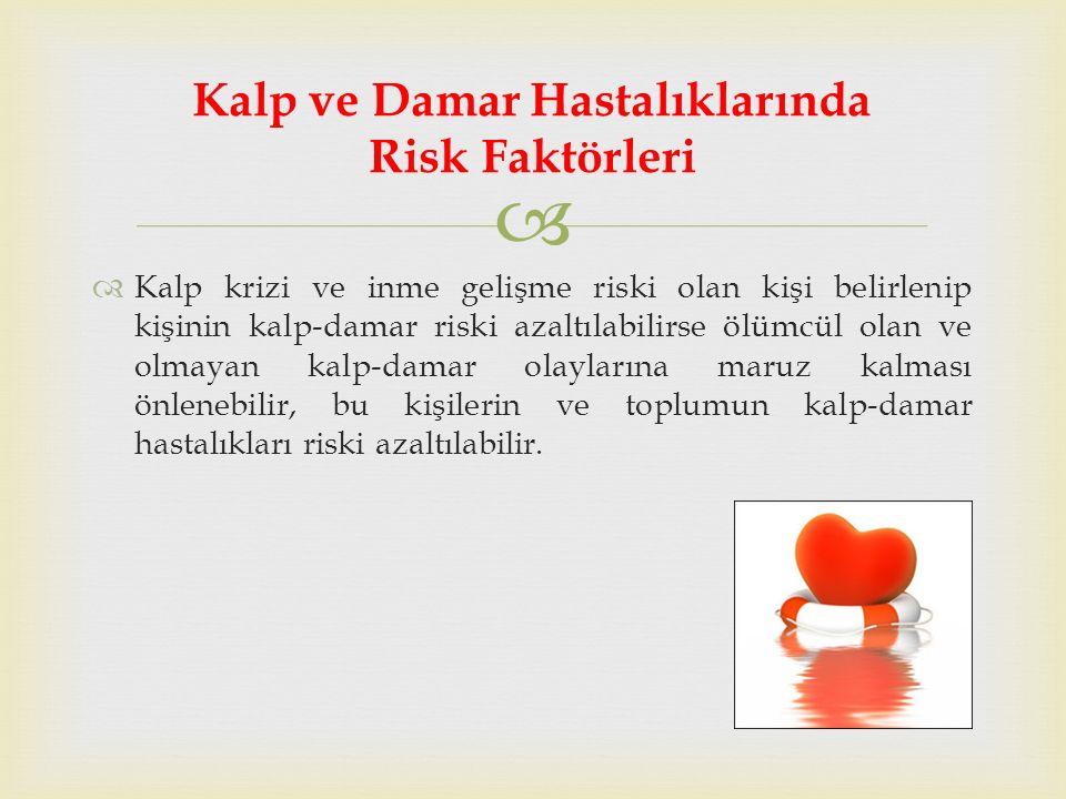   Kalp krizi ve inme gelişme riski olan kişi belirlenip kişinin kalp-damar riski azaltılabilirse ölümcül olan ve olmayan kalp-damar olaylarına maruz kalması önlenebilir, bu kişilerin ve toplumun kalp-damar hastalıkları riski azaltılabilir.