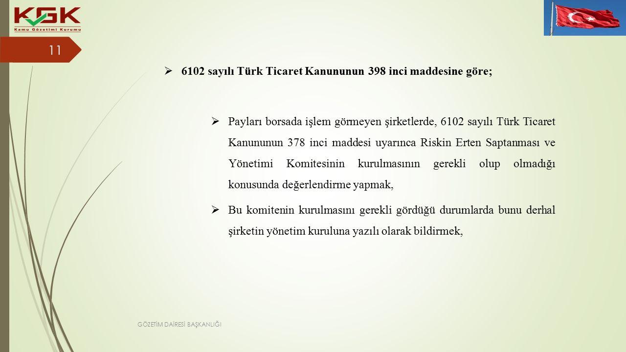  6102 sayılı Türk Ticaret Kanununun 398 inci maddesine göre;  Payları borsada işlem görmeyen şirketlerde, 6102 sayılı Türk Ticaret Kanununun 378 inci maddesi uyarınca Riskin Erten Saptanması ve Yönetimi Komitesinin kurulmasının gerekli olup olmadığı konusunda değerlendirme yapmak,  Bu komitenin kurulmasını gerekli gördüğü durumlarda bunu derhal şirketin yönetim kuruluna yazılı olarak bildirmek, 11 GÖZETİM DAİRESİ BAŞKANLIĞI