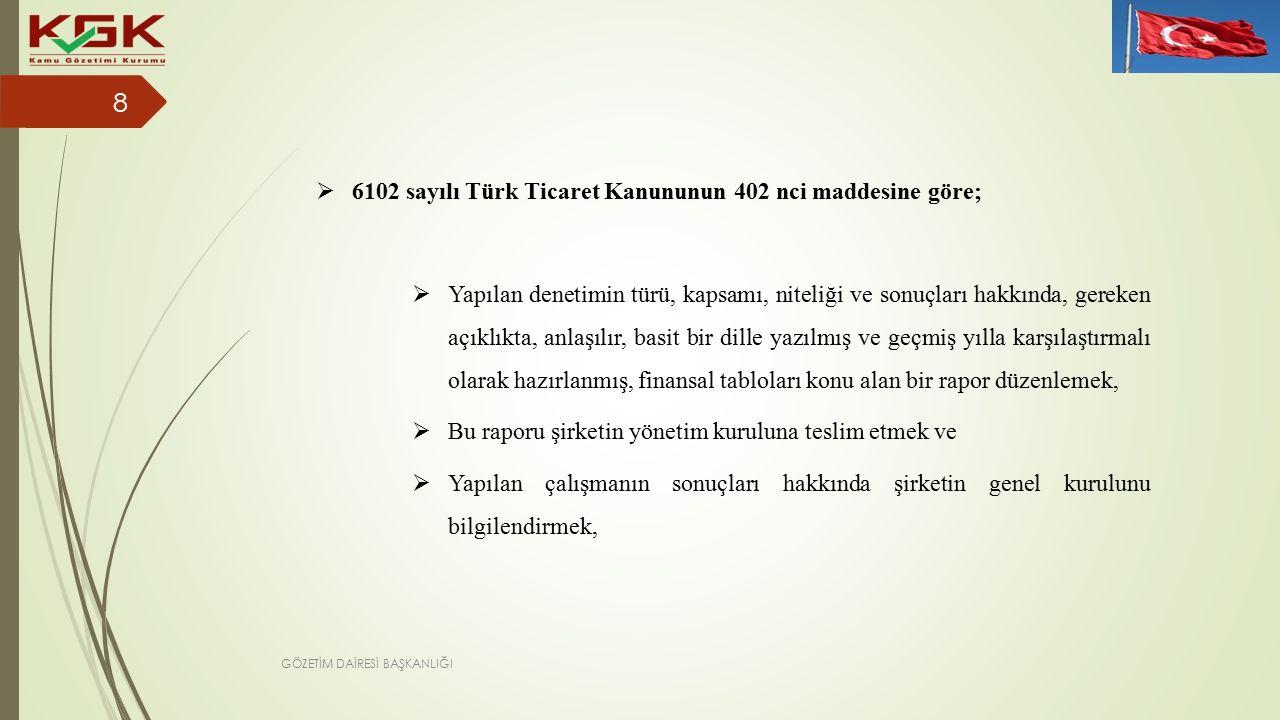 6102 sayılı Türk Ticaret Kanununun 402 nci maddesine göre;  Yapılan denetimin türü, kapsamı, niteliği ve sonuçları hakkında, gereken açıklıkta, anlaşılır, basit bir dille yazılmış ve geçmiş yılla karşılaştırmalı olarak hazırlanmış, finansal tabloları konu alan bir rapor düzenlemek,  Bu raporu şirketin yönetim kuruluna teslim etmek ve  Yapılan çalışmanın sonuçları hakkında şirketin genel kurulunu bilgilendirmek, 8 GÖZETİM DAİRESİ BAŞKANLIĞI