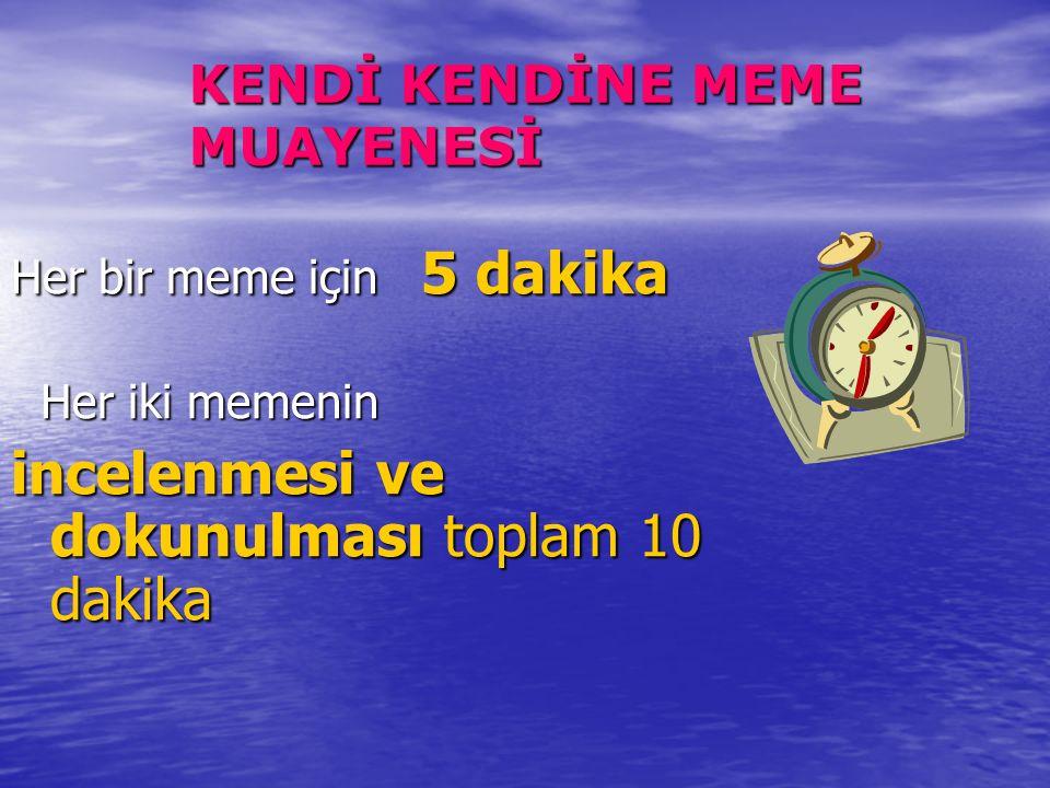 KENDİ KENDİNE MEME MUAYENESİ Her bir meme için 5 dakika Her iki memenin Her iki memenin incelenmesi ve dokunulması toplam 10 dakika