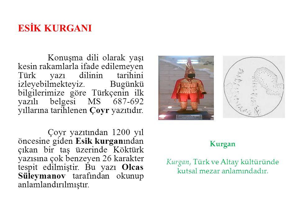 ESİK KURGANI Konuşma dili olarak yaşı kesin rakamlarla ifade edilemeyen Türk yazı dilinin tarihini izleyebilmekteyiz. Bugünkü bilgilerimize göre Türkç