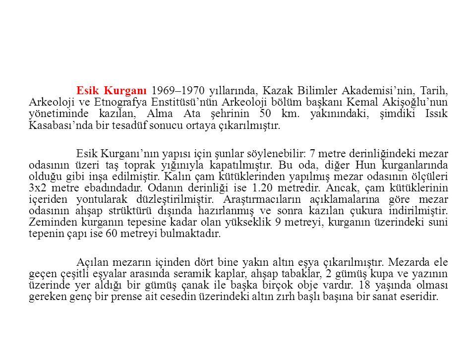 Esik Kurganı 1969–1970 yıllarında, Kazak Bilimler Akademisi'nin, Tarih, Arkeoloji ve Etnografya Enstitüsü'nün Arkeoloji bölüm başkanı Kemal Akişoğlu'n