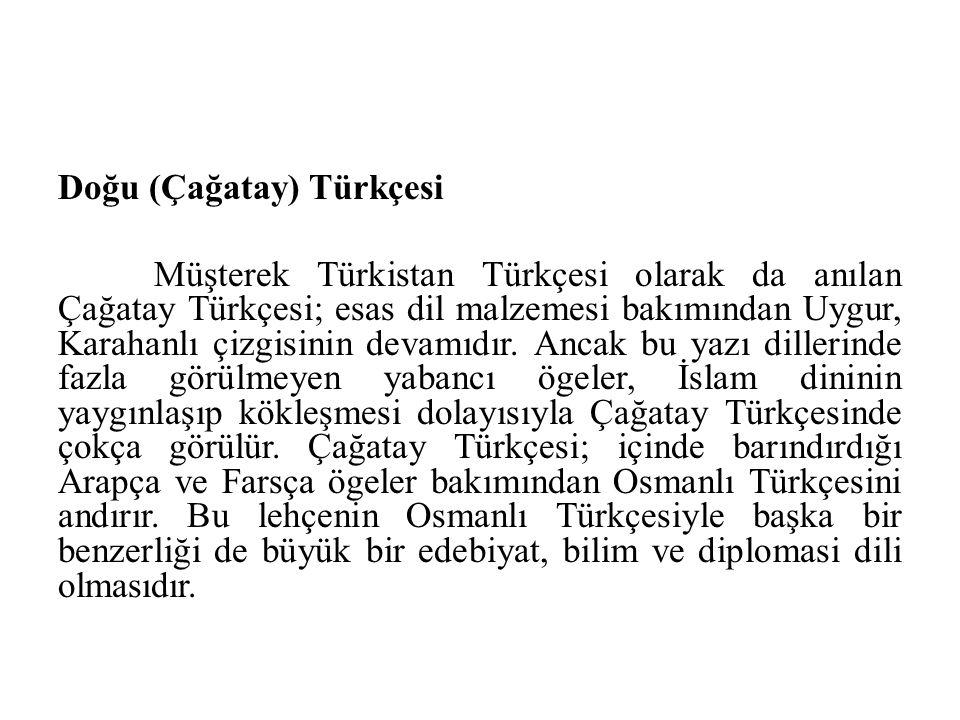 Doğu (Çağatay) Türkçesi Müşterek Türkistan Türkçesi olarak da anılan Çağatay Türkçesi; esas dil malzemesi bakımından Uygur, Karahanlı çizgisinin devam