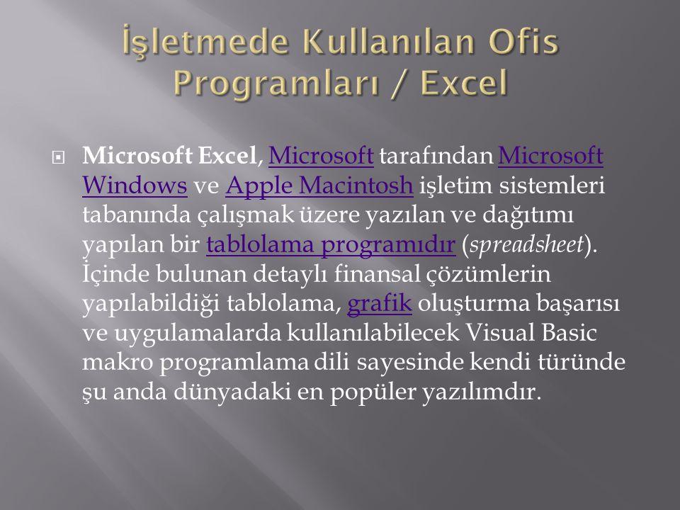  Microsoft Excel, Microsoft tarafından Microsoft Windows ve Apple Macintosh işletim sistemleri tabanında çalışmak üzere yazılan ve dağıtımı yapılan bir tablolama programıdır ( spreadsheet ).