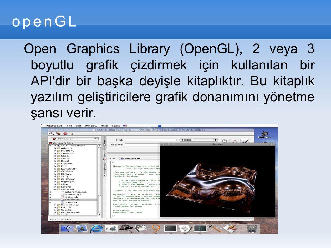 openGL Open Graphics Library (OpenGL), 2 veya 3 boyutlu grafik çizdirmek için kullanılan bir API dir bir başka deyişle kitaplıktır.