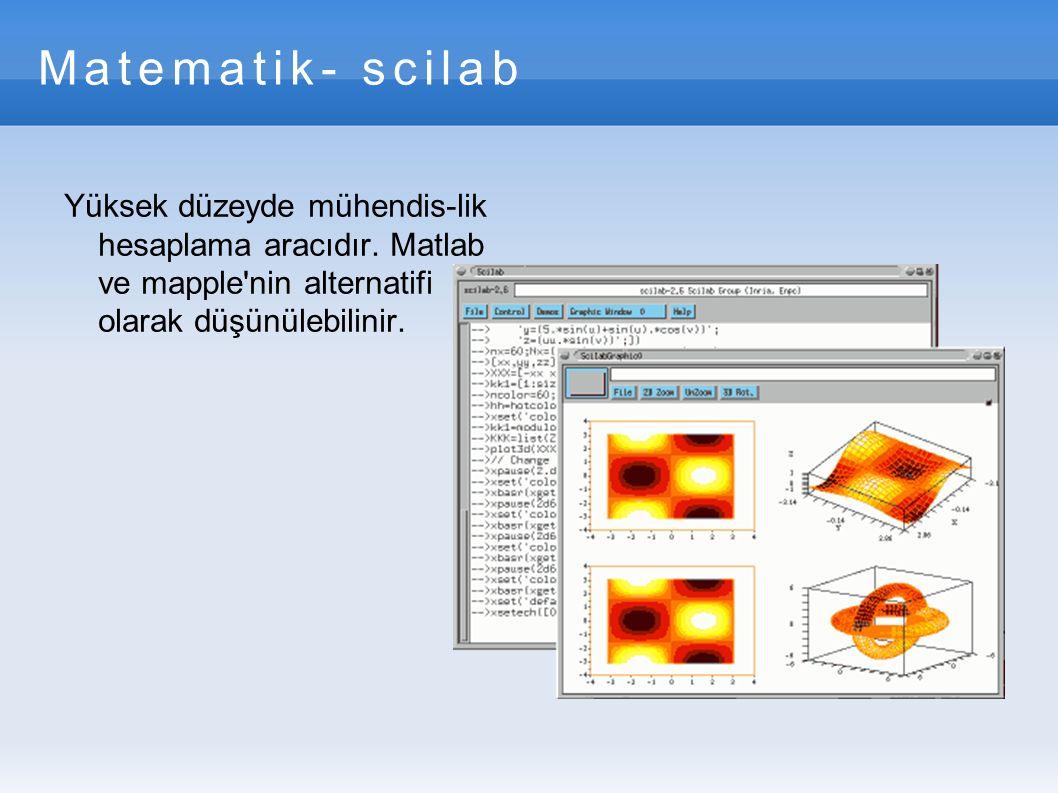 Matematik- scilab Yüksek düzeyde mühendis-lik hesaplama aracıdır.