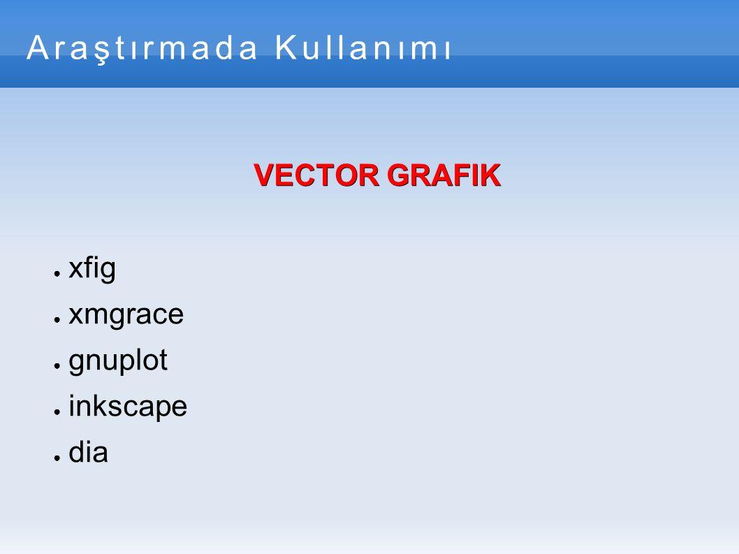Vectör Grafik- gnuplot ● Gnuplot, komut satırından kullanılabilen, etkileşimli, özellikle bilimsel verilerin istatistiksel analizinde kullanılan bir grafik çizim uygulamasıdır.