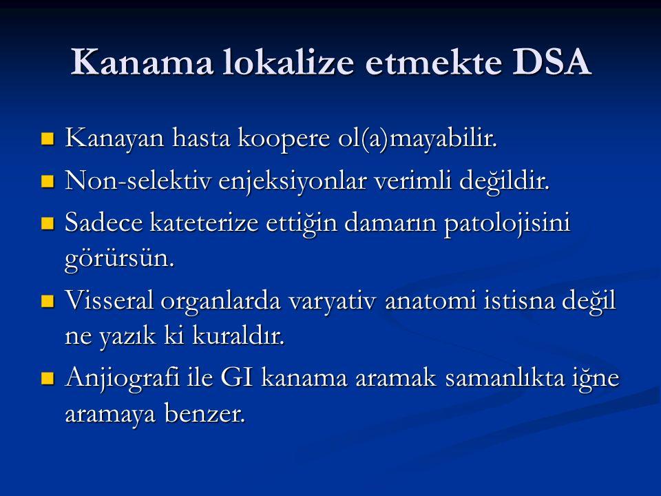 Kanama lokalize etmekte DSA Kanayan hasta koopere ol(a)mayabilir.