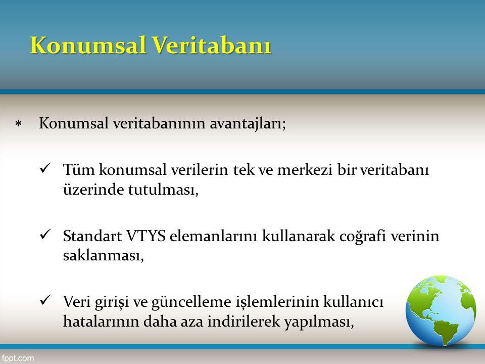 Konumsal Veritabanı  Konumsal veritabanının avantajları; Tüm konumsal verilerin tek ve merkezi bir veritabanı üzerinde tutulması, Standart VTYS elema