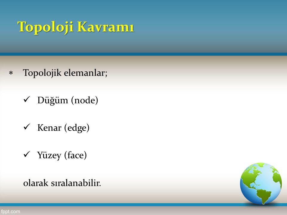 Topoloji Kavramı  Topolojik elemanlar; Düğüm (node) Kenar (edge) Yüzey (face) olarak sıralanabilir.