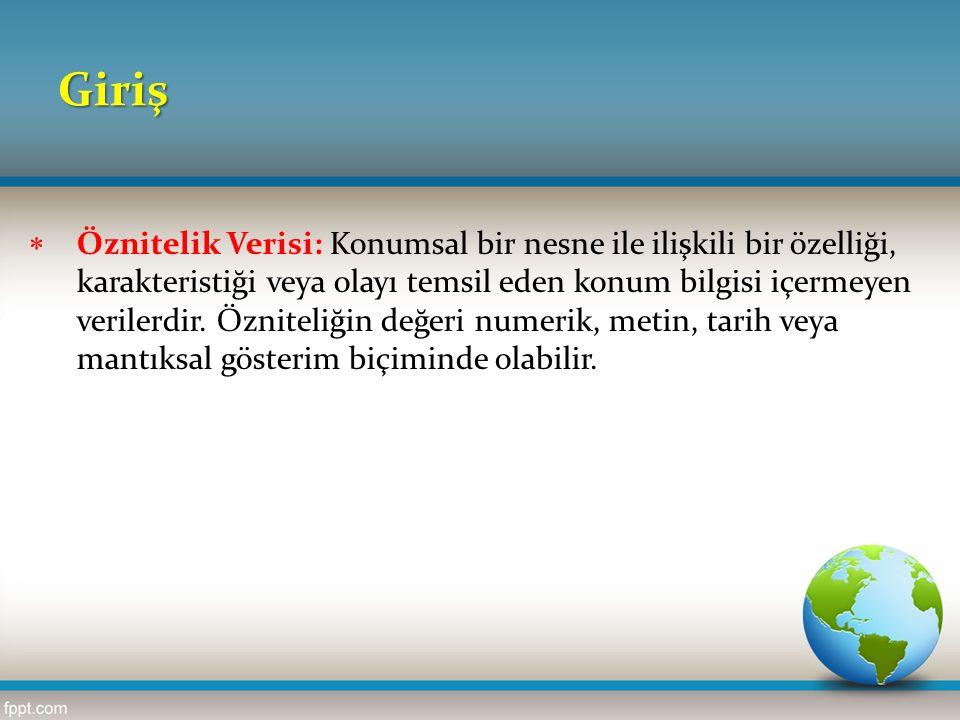 Giriş  Konumsal Veri: Yeryüzünde herhangi bir nesnenin coğrafi konumunu belirlemek için kullanılır.