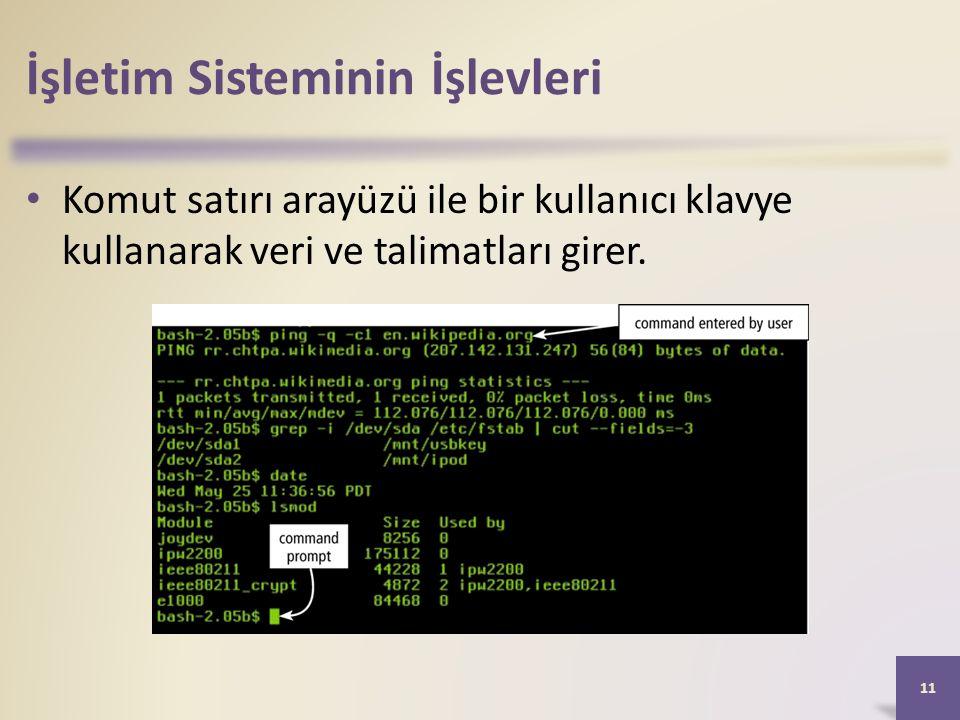 İşletim Sisteminin İşlevleri Komut satırı arayüzü ile bir kullanıcı klavye kullanarak veri ve talimatları girer.