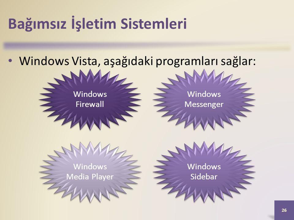 Bağımsız İşletim Sistemleri Windows Vista, aşağıdaki programları sağlar: 26 Windows Firewall Windows Messenger Windows Media Player Windows Sidebar