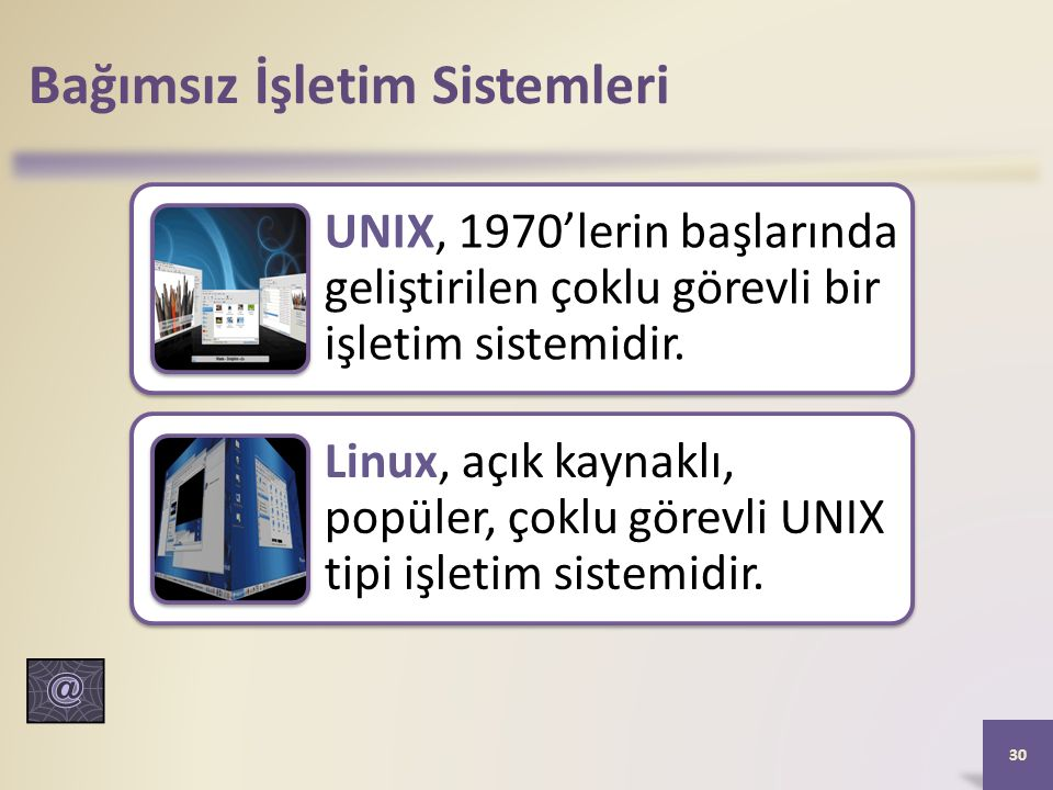 Bağımsız İşletim Sistemleri UNIX, 1970'lerin başlarında geliştirilen çoklu görevli bir işletim sistemidir.