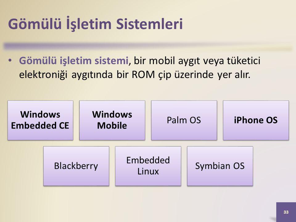 Gömülü İşletim Sistemleri Gömülü işletim sistemi, bir mobil aygıt veya tüketici elektroniği aygıtında bir ROM çip üzerinde yer alır.