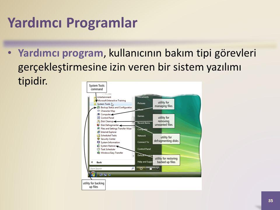 Yardımcı Programlar Yardımcı program, kullanıcının bakım tipi görevleri gerçekleştirmesine izin veren bir sistem yazılımı tipidir.