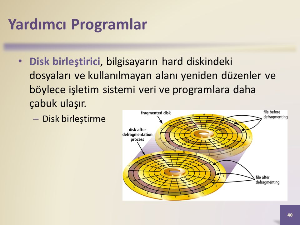 Yardımcı Programlar Disk birleştirici, bilgisayarın hard diskindeki dosyaları ve kullanılmayan alanı yeniden düzenler ve böylece işletim sistemi veri ve programlara daha çabuk ulaşır.