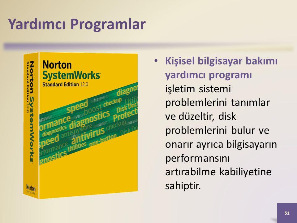 Yardımcı Programlar Kişisel bilgisayar bakımı yardımcı programı işletim sistemi problemlerini tanımlar ve düzeltir, disk problemlerini bulur ve onarır ayrıca bilgisayarın performansını artırabilme kabiliyetine sahiptir.