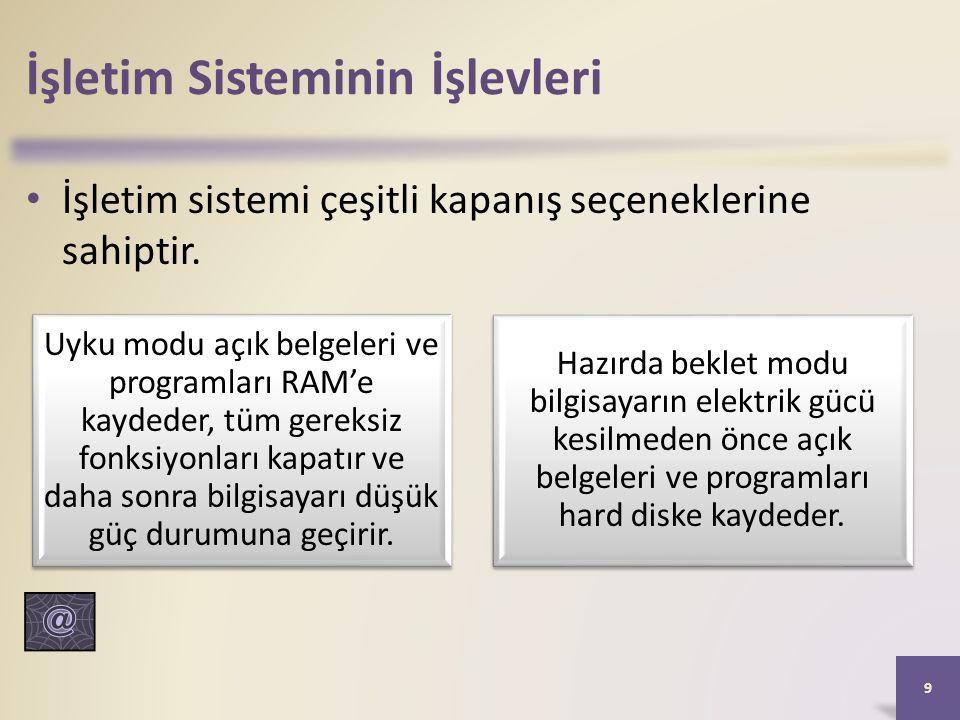 İşletim Sisteminin İşlevleri İşletim sistemi çeşitli kapanış seçeneklerine sahiptir.